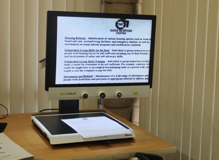 Assistive Technology Picture of CC TV used to magnify documents etc.