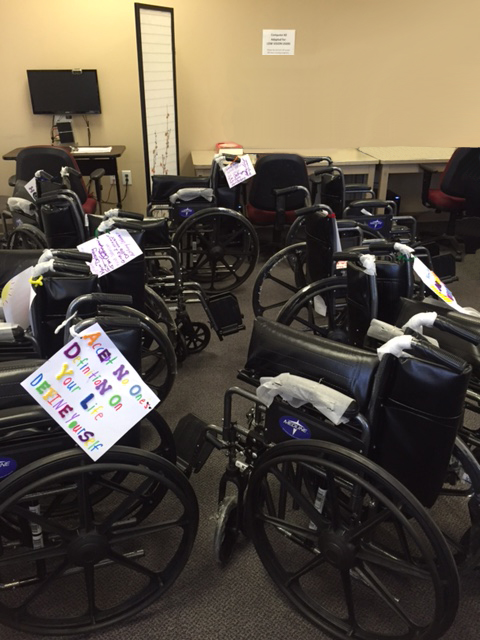 Assistive Technology Picture of wheechairs that MDX staff built and donated as part of a team building project.