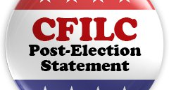 Graphic of red white and blue button with CFLIC Post-Election Statement Text on it.