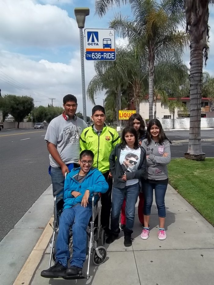 MMP Mobility Management Training 6 youth with various disabilities at the OCTA bus stop