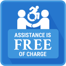 An image that says Assistance is Free of Charge with two people holding hands.
