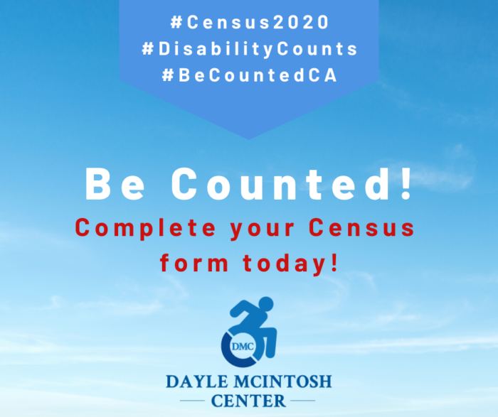 Red white and blue census graphic with DMC logo