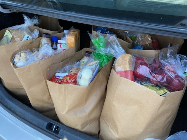 Picture of trunk loaded with groceries.