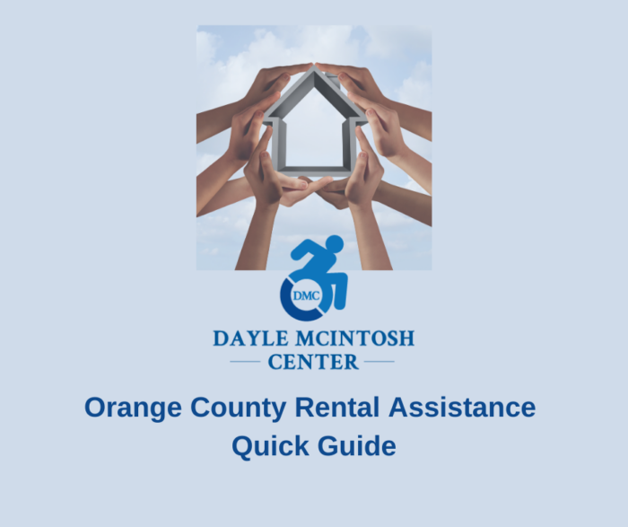 Hands holding up outline of house followed by DMC logo and text stating Orange County Rental Assistance Quick Guide