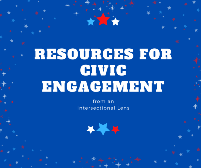 Red white and blue resources for civic engagement graphic