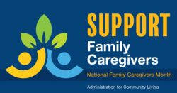 blue yellow green graphic that says Support Family Caregivers, National Family Caregiver Month, Administration on Community Living